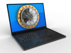 laptop computer over white background with blue reflection screen and vault door