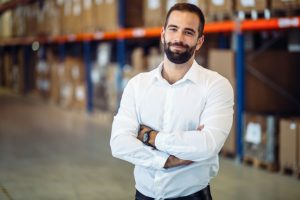 Logistics manager warehouse portrait