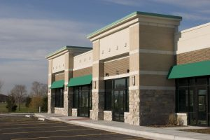 a new strip mall in the suburbs